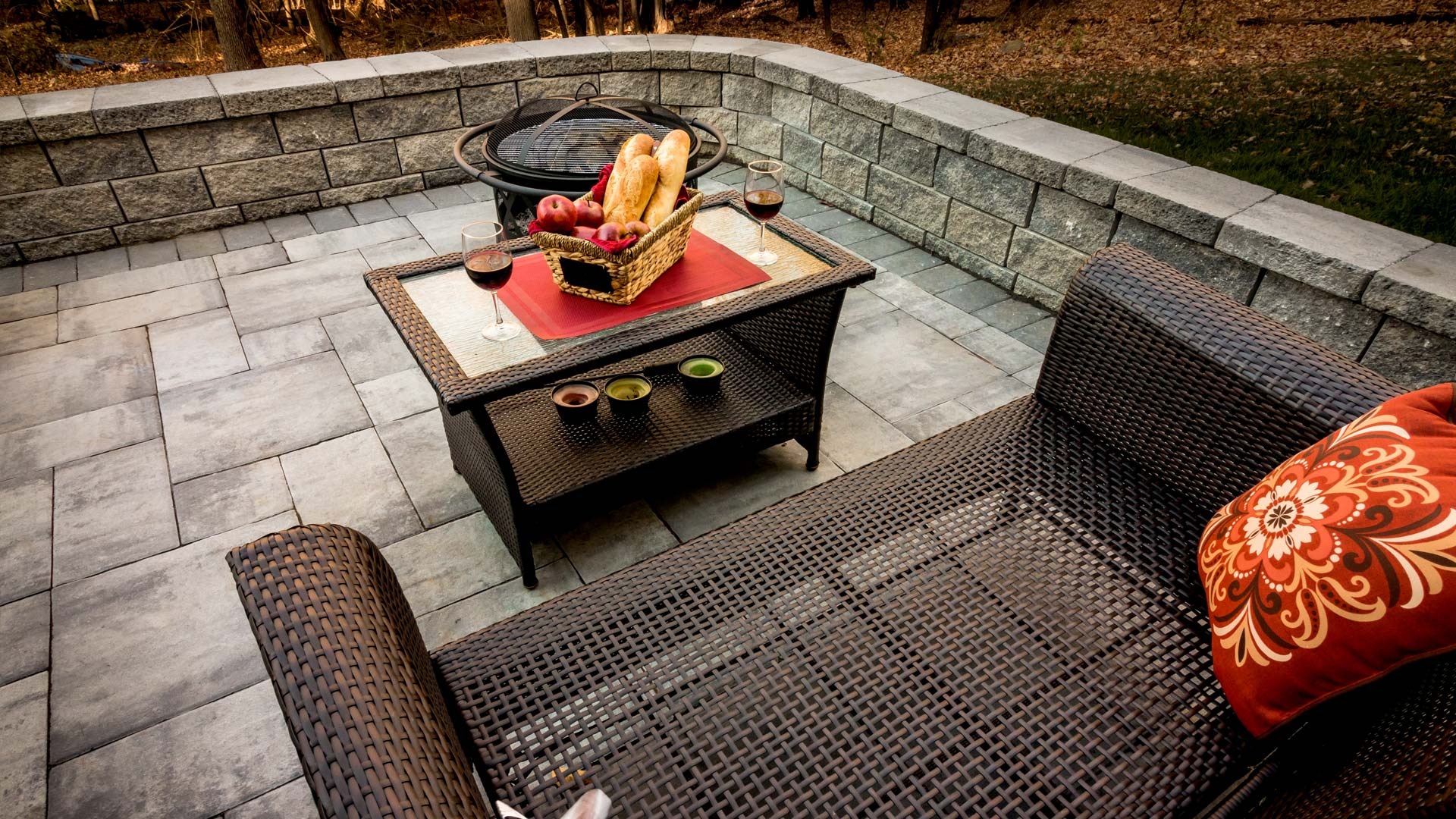 Stone patio with brick wall in New Jersey