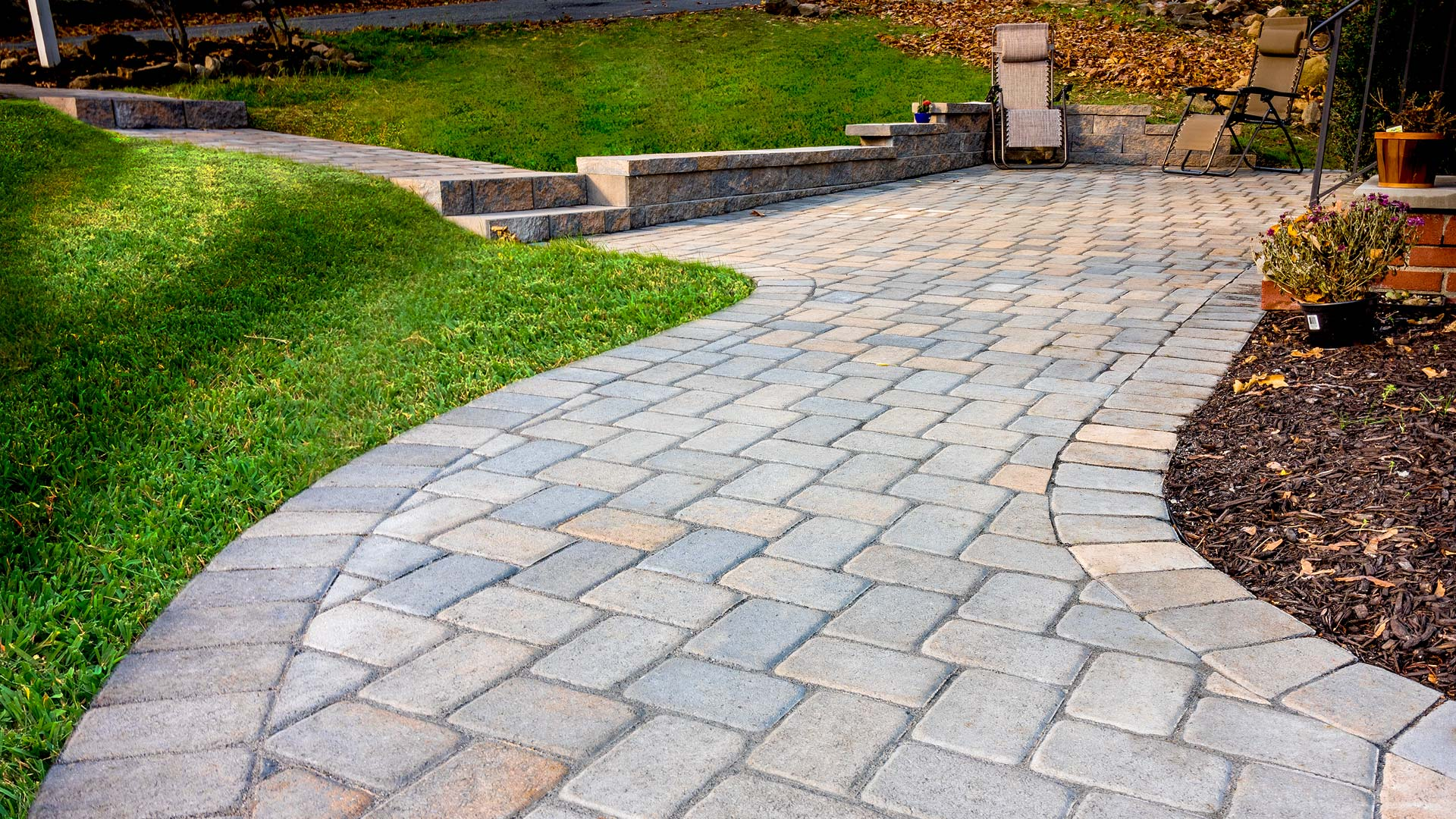 Paver walkway, stairs and block wall in Sparta New Jersey